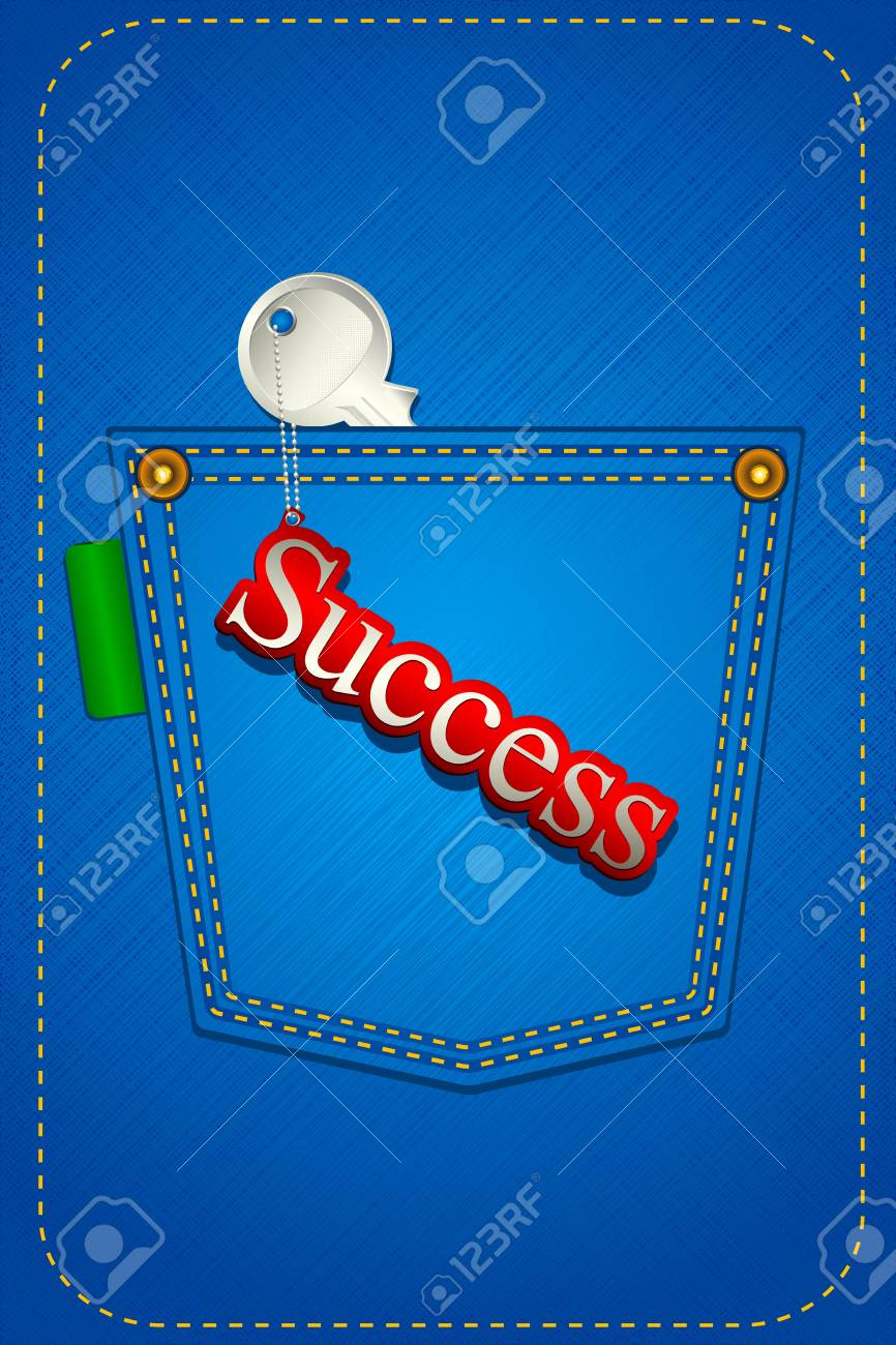 illustration of key to success in jeans pocket Stock Illustration - 9736509