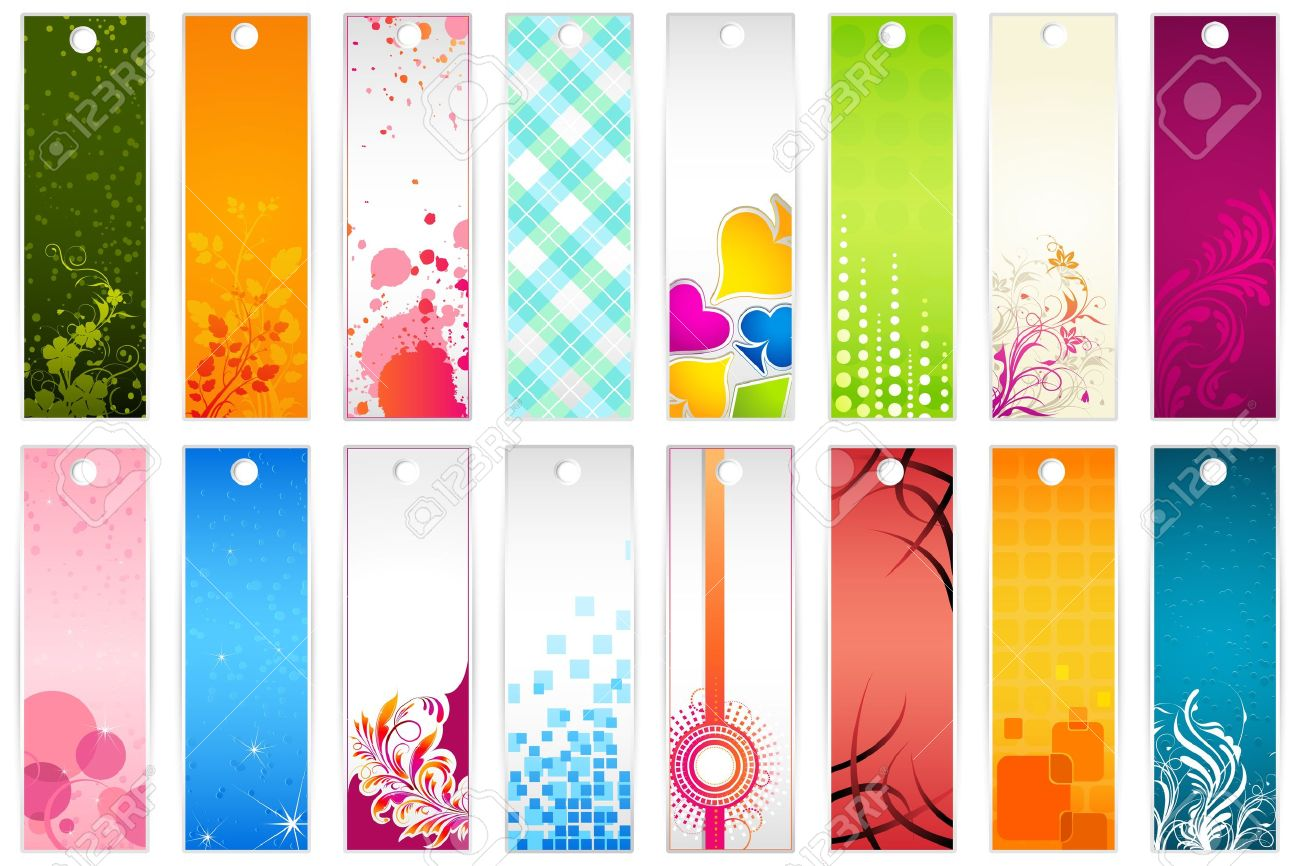 illustration of set of colorful floral bookmark royalty free
