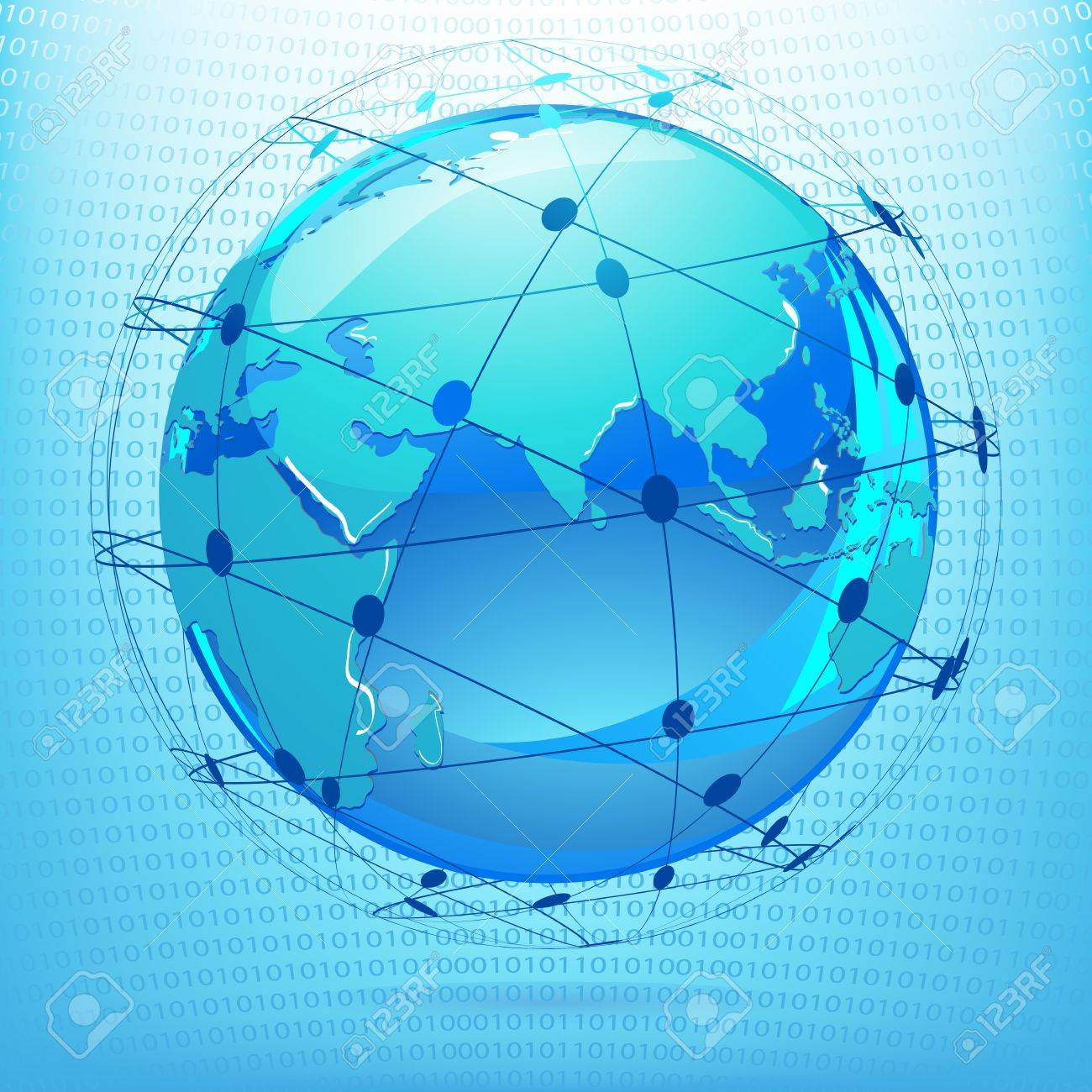 illustration of globe showing networking on binary background Stock Photo - 9736516