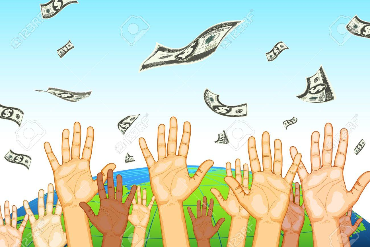 illustration of human hand catching dollar note on earth background Stock Vector - 9883772