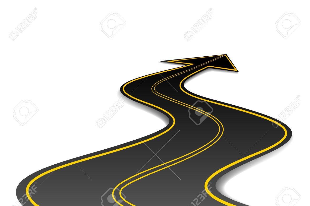 illustration of asphalt road in shape of arrow - 9883824