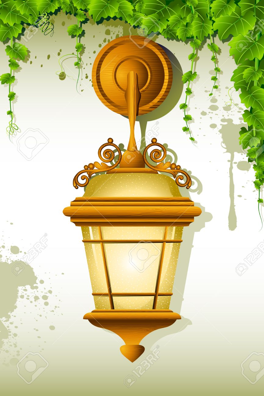 Illustration Of Old Lamp Hanging On Wall With Creeper Royalty Free ...