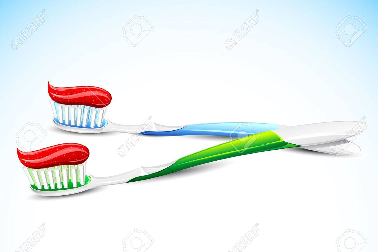 illustration of tooth paste on tooth brush on abstract background Stock Vector - 10281468