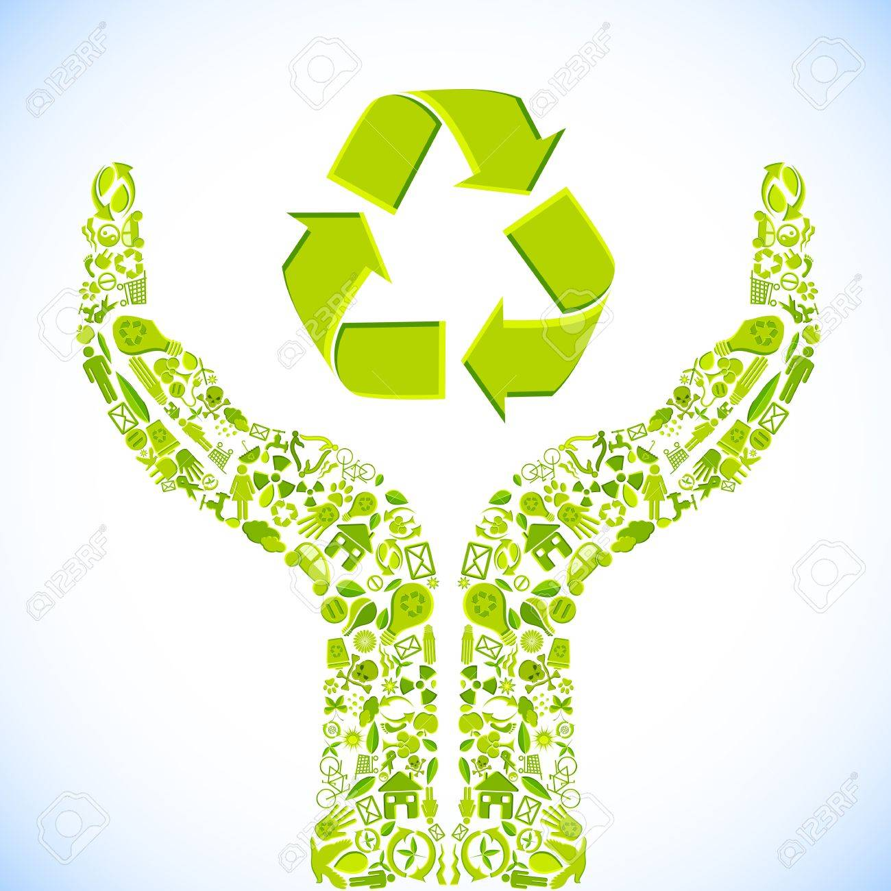 illustration of hand made of recycle symbol Stock Vector - 10281471