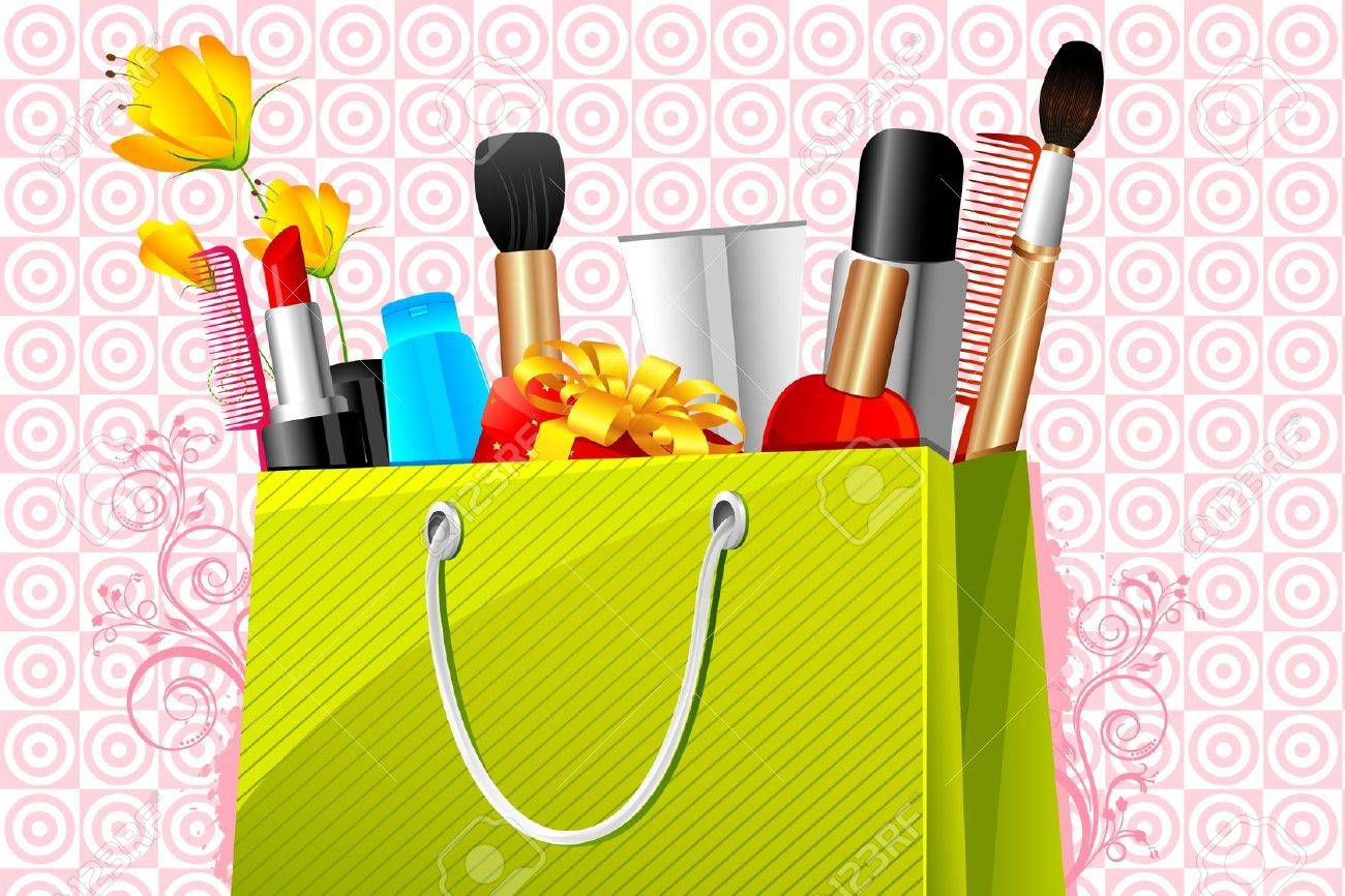 Illustration Of Shopping Bag Full Of Cosmetic On Abstract ...