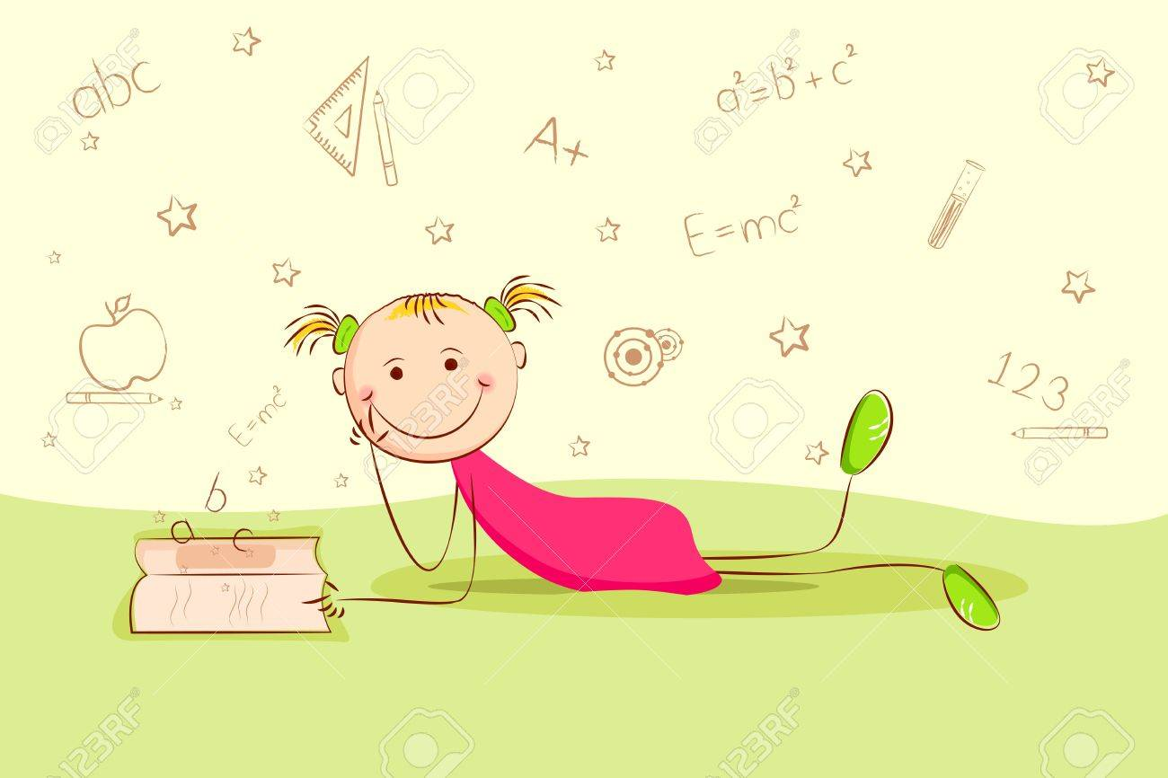 illustration of kid laying on floor and thinking about different education object Stock Vector - 10524554