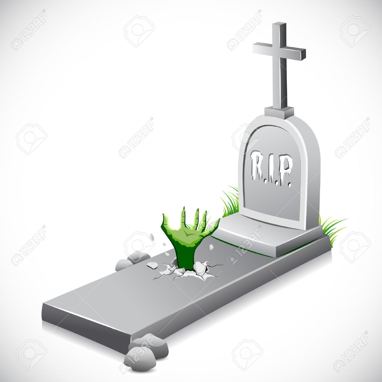 illustration of hand coming out of grave stone Stock Vector - 10524562