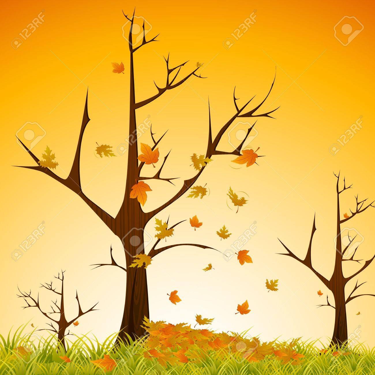 illustration of maple tree sheding leaves on natural background Stock Illustration - 10524581
