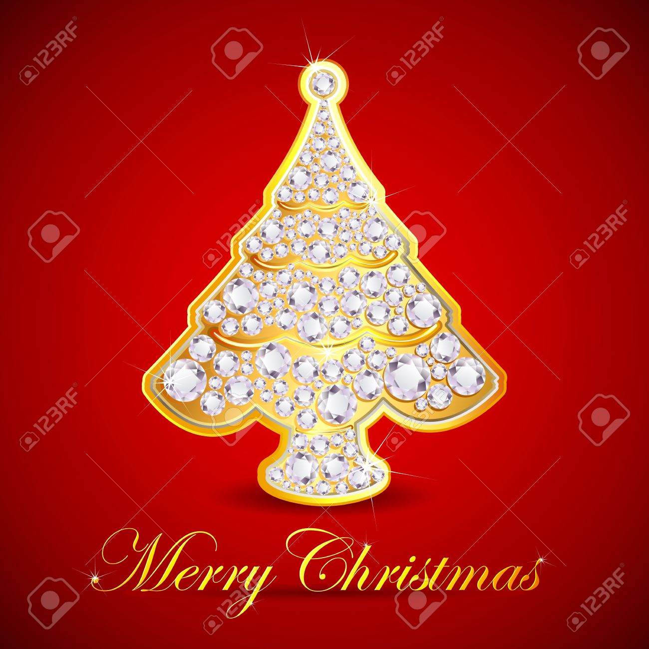 Illustration Of Christmas Tree Made Of Gold And Diamond