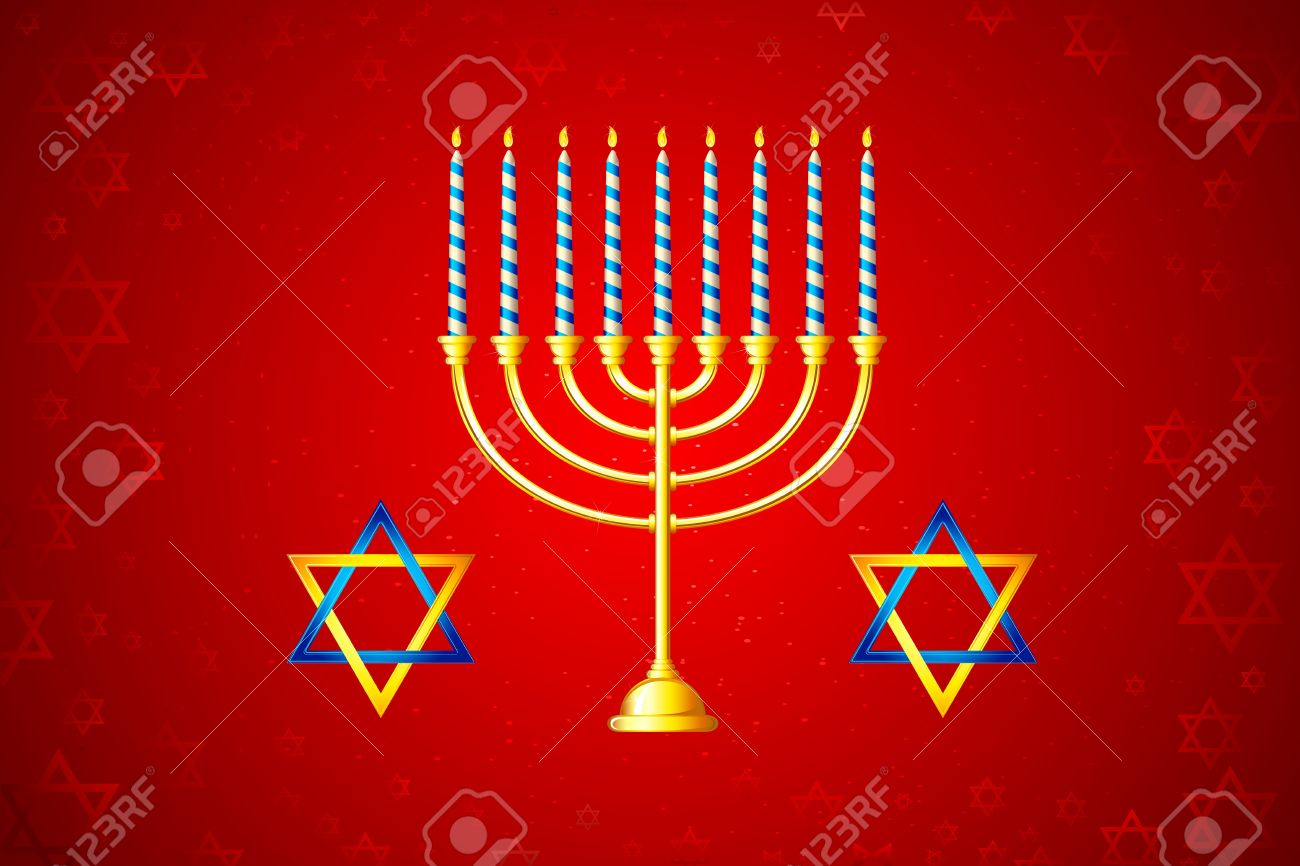 illustration of burning candle in Hanukkah Menorah with star of david Stock Vector - 10524592
