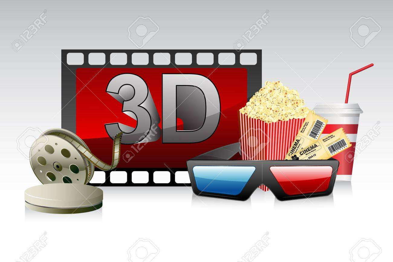 illustration of 3d glasses with film stripe and pop corn Stock Vector - 10596323