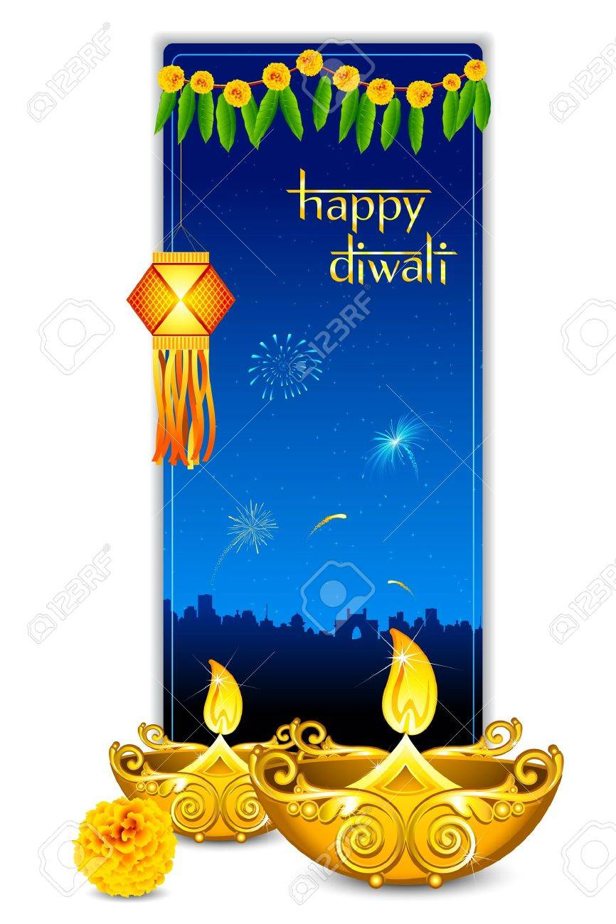 Illustration Of Burning Diya With Hanging Lamp In Diwali Card Stock