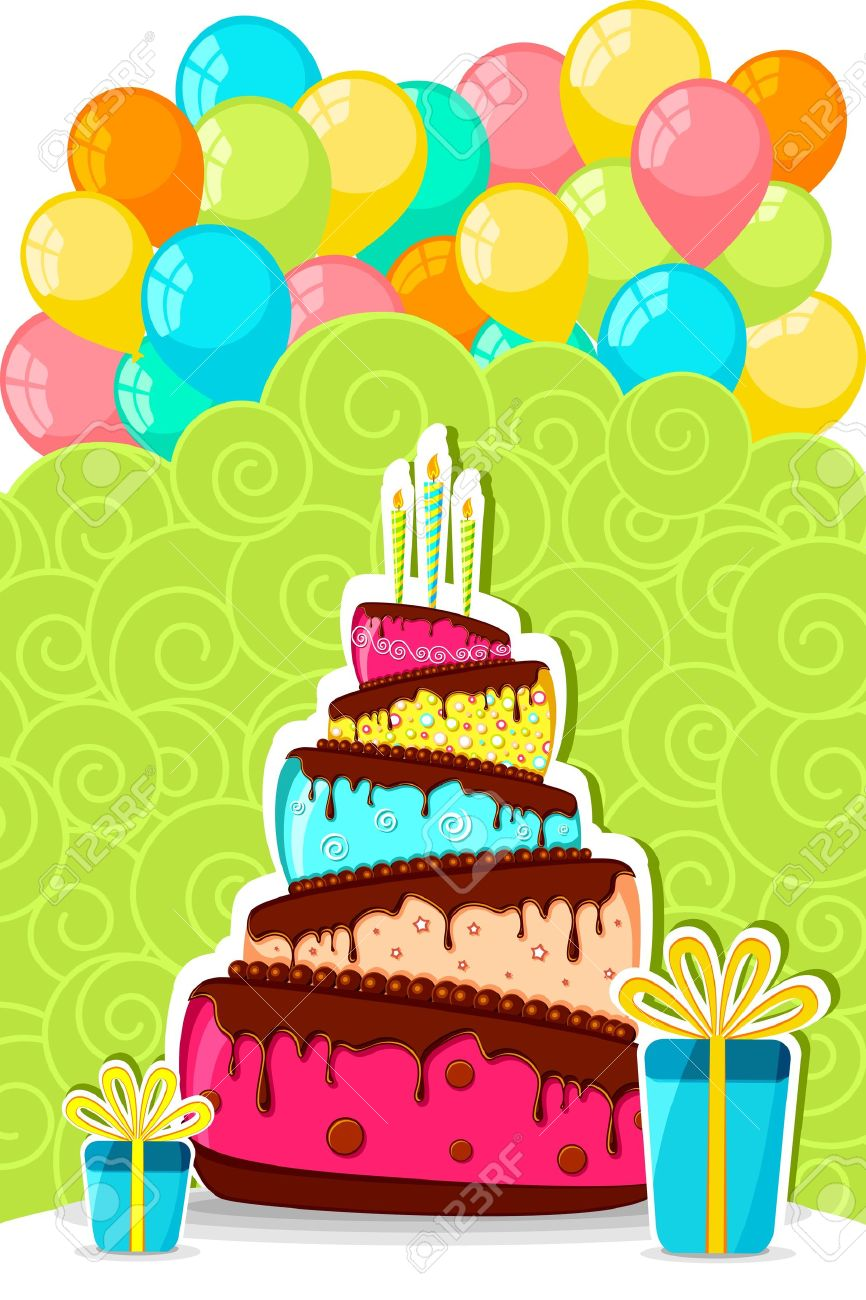 illustration of birthday cake with bunch of colorful balloon and gift box Stock Vector - 10668487