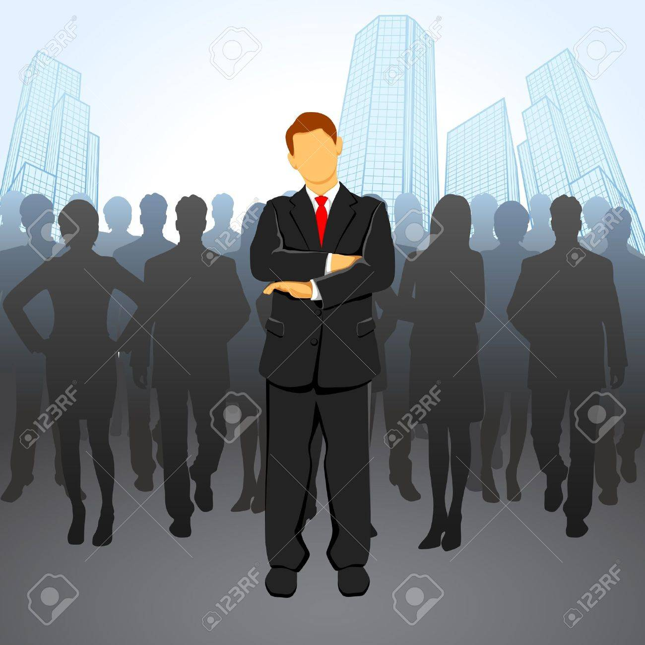 illustration of leader standing in front of corportae crowd Stock Vector - 10703832