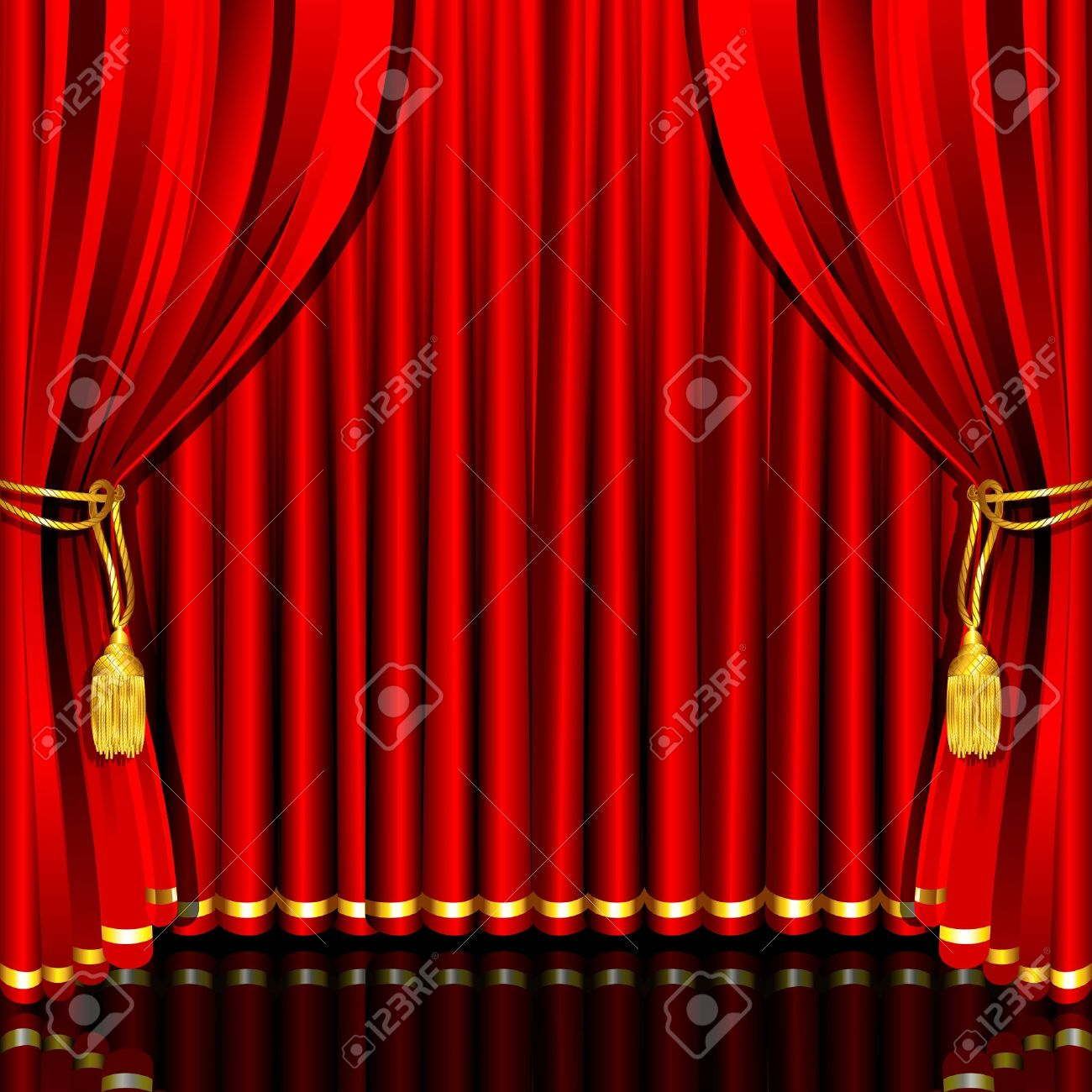 Red stage curtain with lights - Red Stage Curtains Vector Illustration Of Red Stage Curtain Drape Tied With Rope