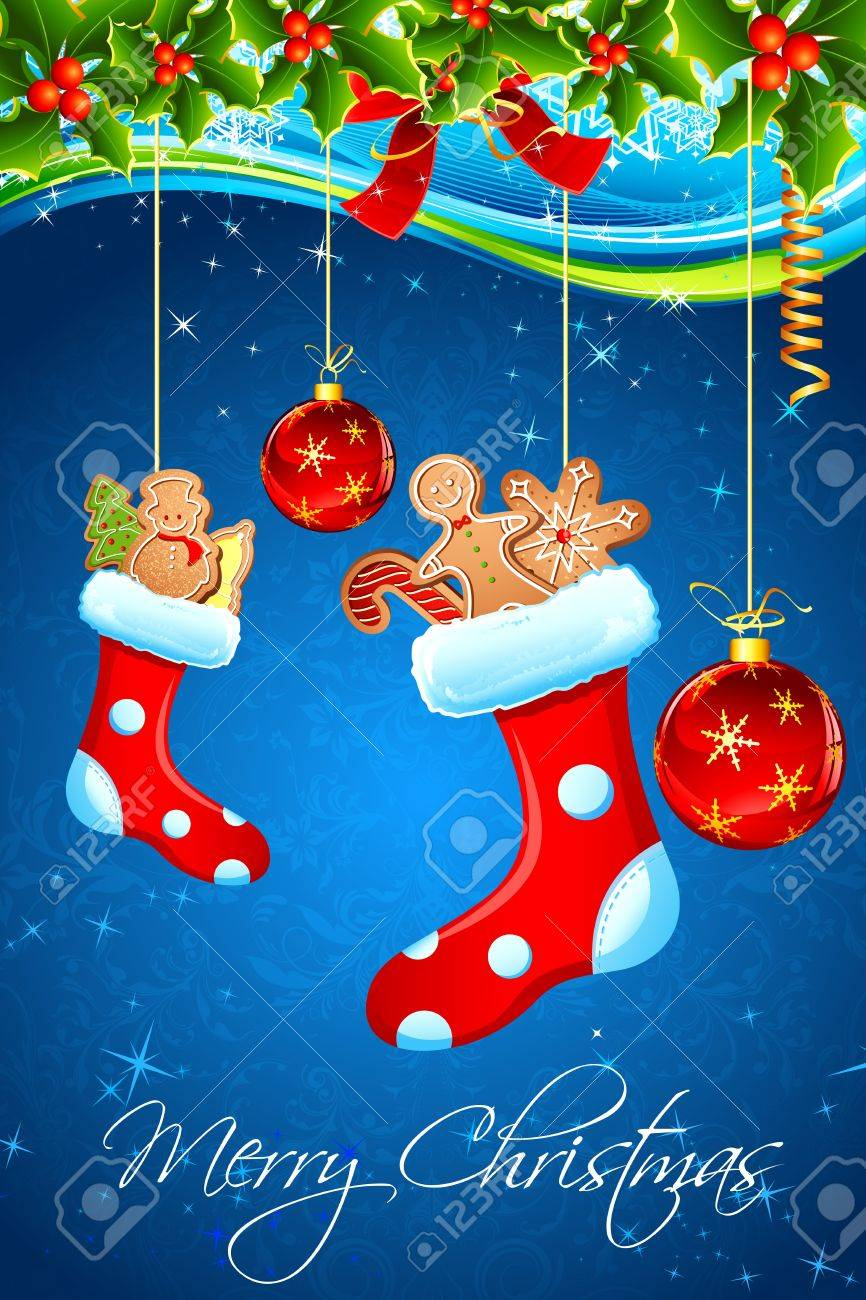 illustration of christmas goodies stuffed in santa stocking Stock Vector - 10703863