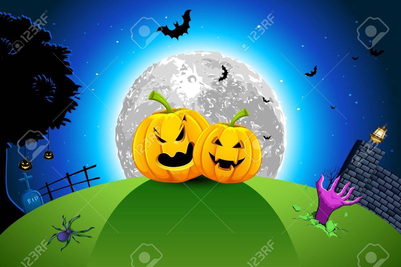 illustration of pumpkin in grassland in full moon halloween night Stock Vector - 10703856