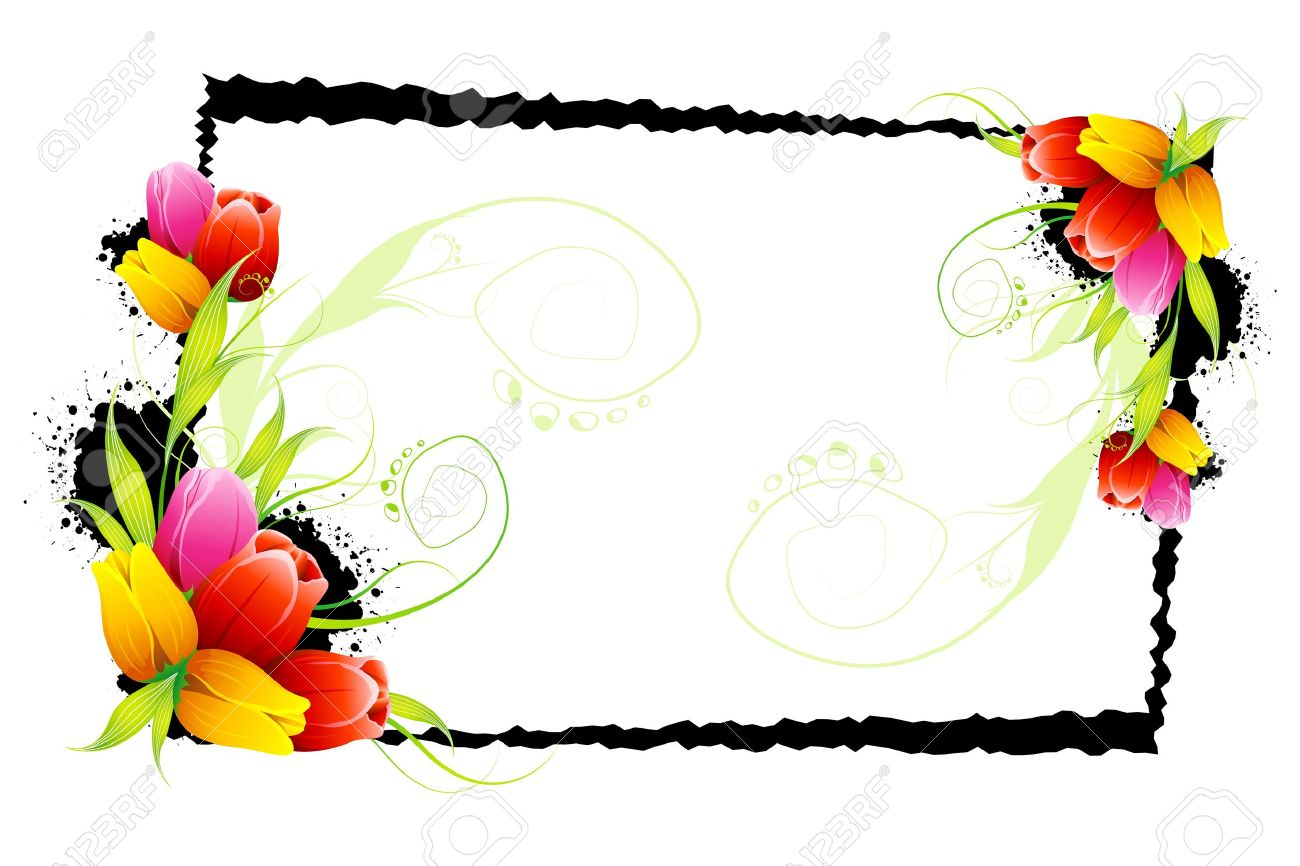 Illustration Of Colorful Tulip With Grungy Frame Stock Vector