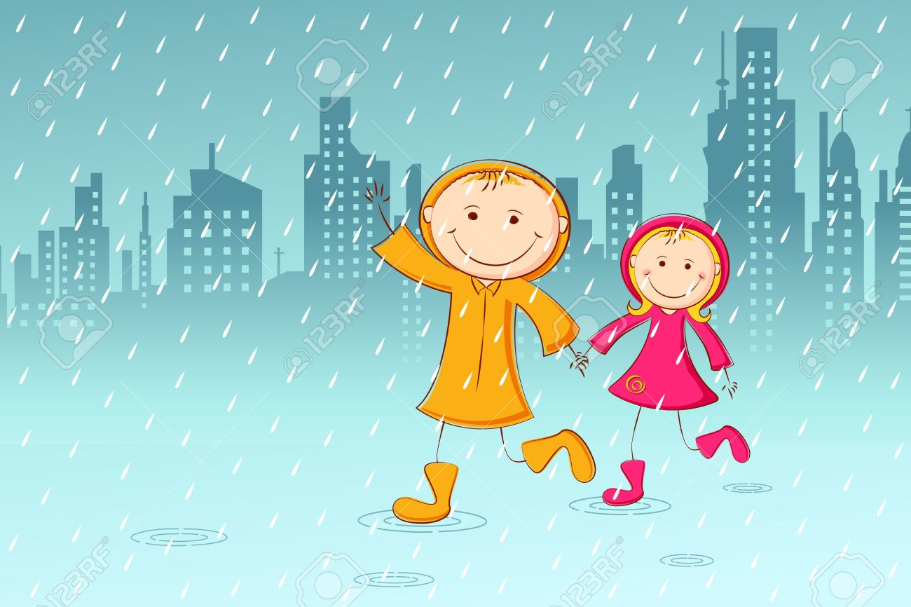 illustration of kids playing in rainy day with cityscape background rh 123rf com rainy day clip art free rainy day clip art free