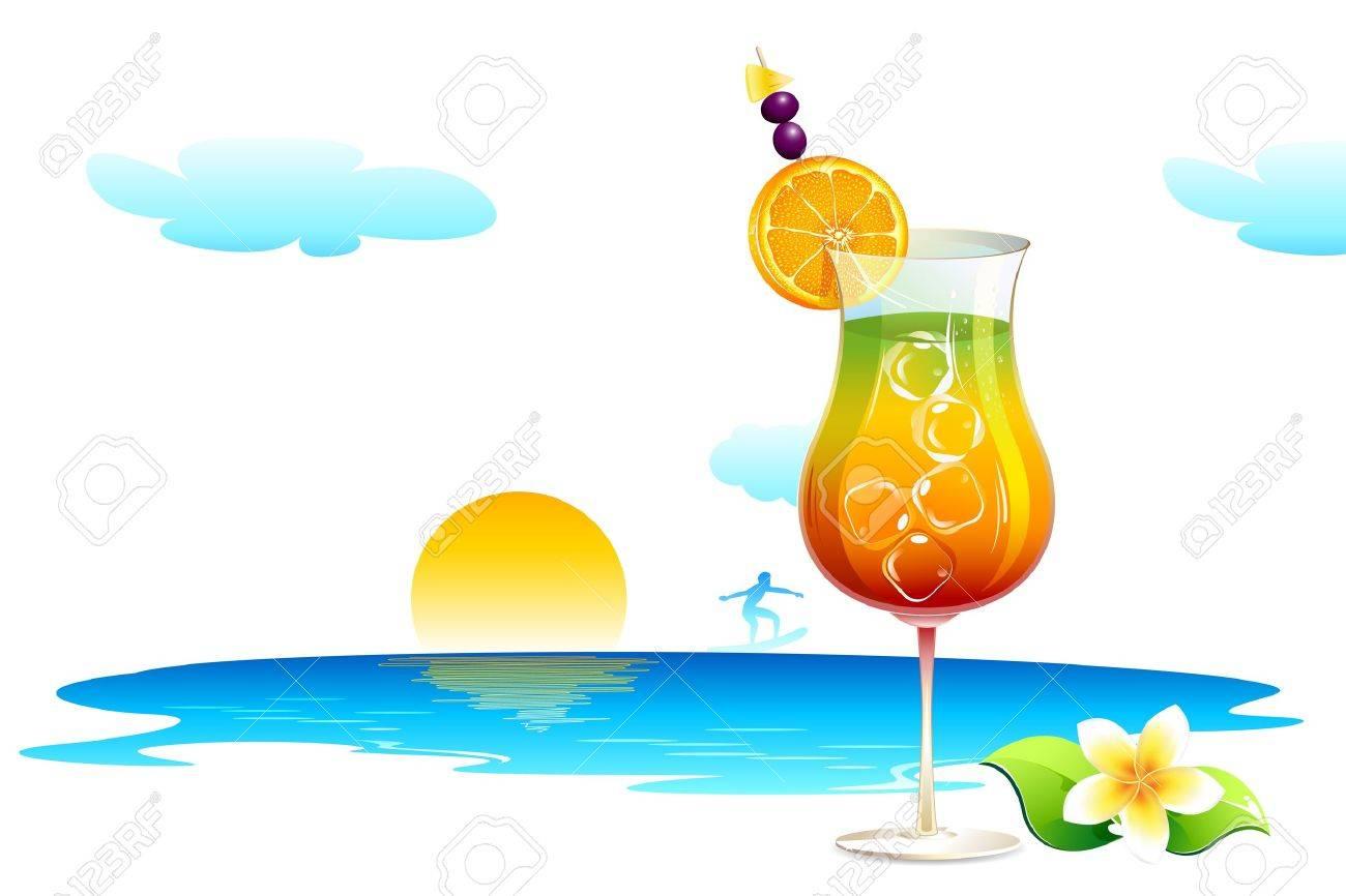 illustration of cocktail glass on sea beach Stock Photo - 10885251