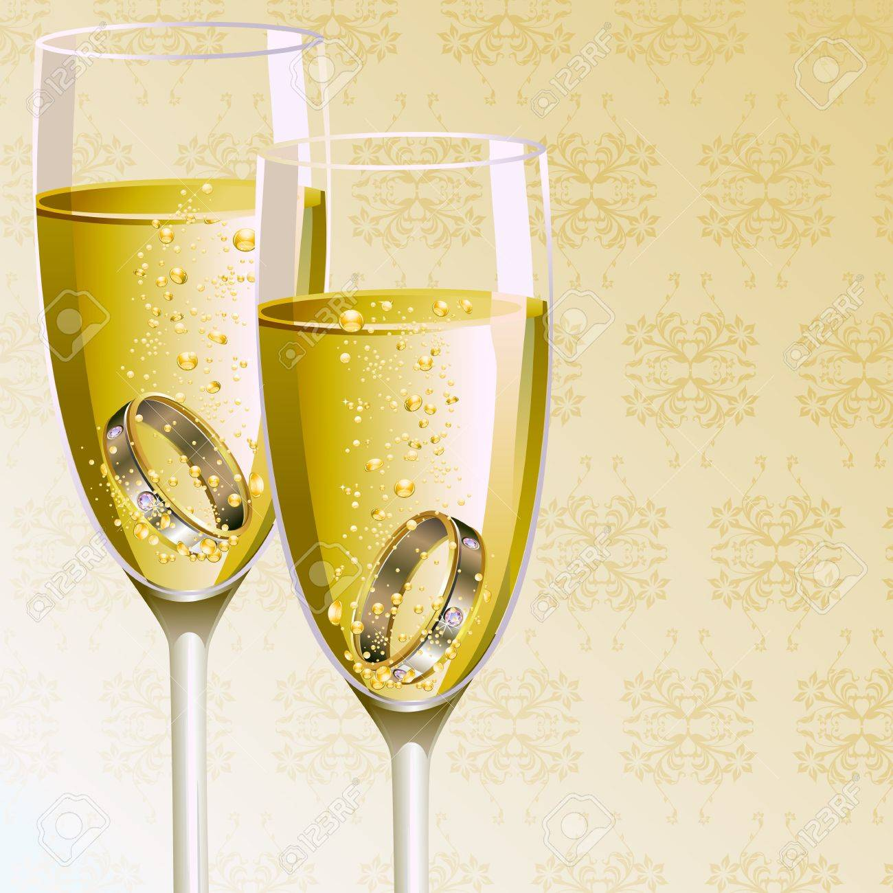 illustration of pair of engagement ring in champagne glass Stock Vector - 10885238