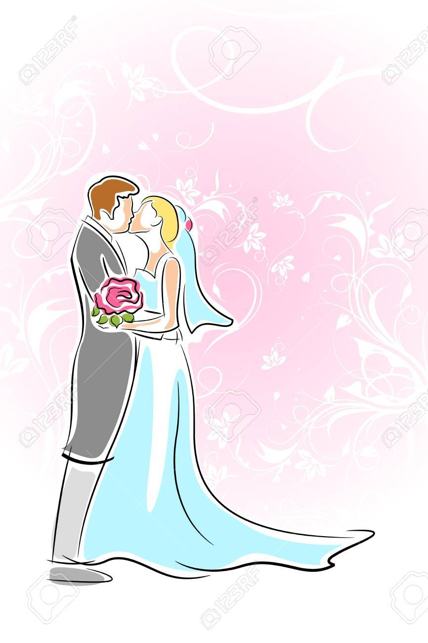 花の背景上のカップルのキスのイラスト ロイヤリティフリークリップ