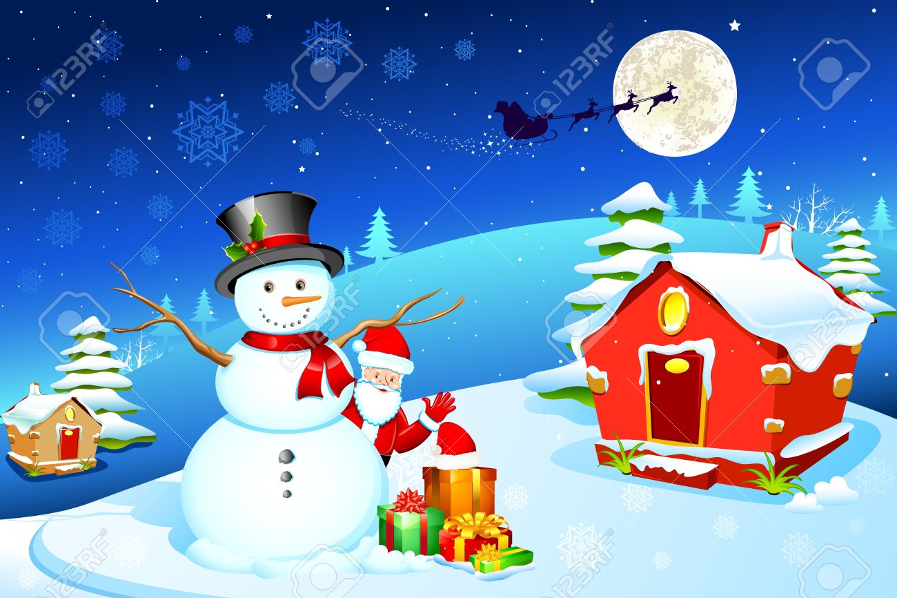 illustration of snowman with santa claus and gift box in christmas night Stock Vector - 11003563