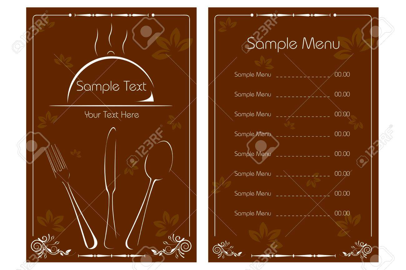 illustration of template for menu card with cutlery on floral..