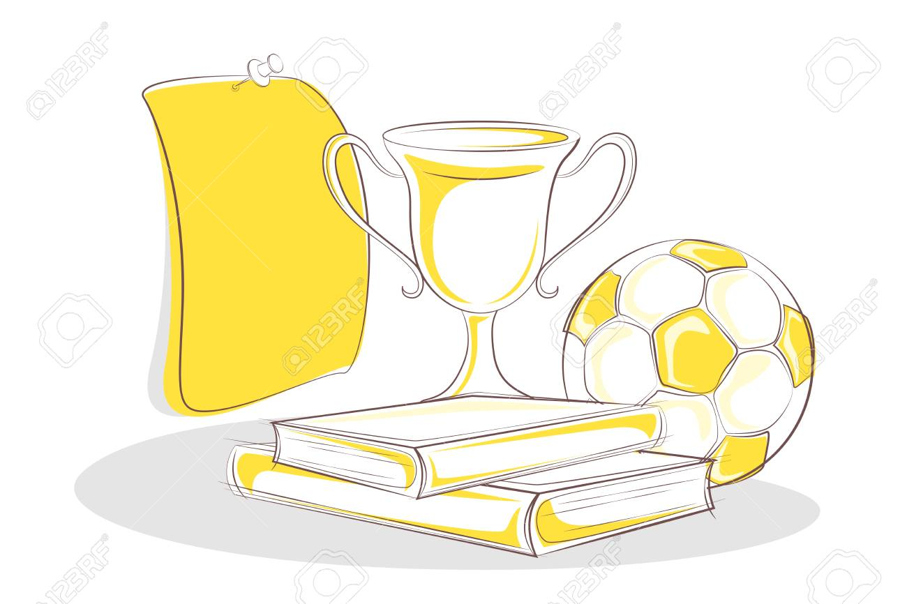 illustration of booksand trophy with soccer ball Stock Vector - 11275718