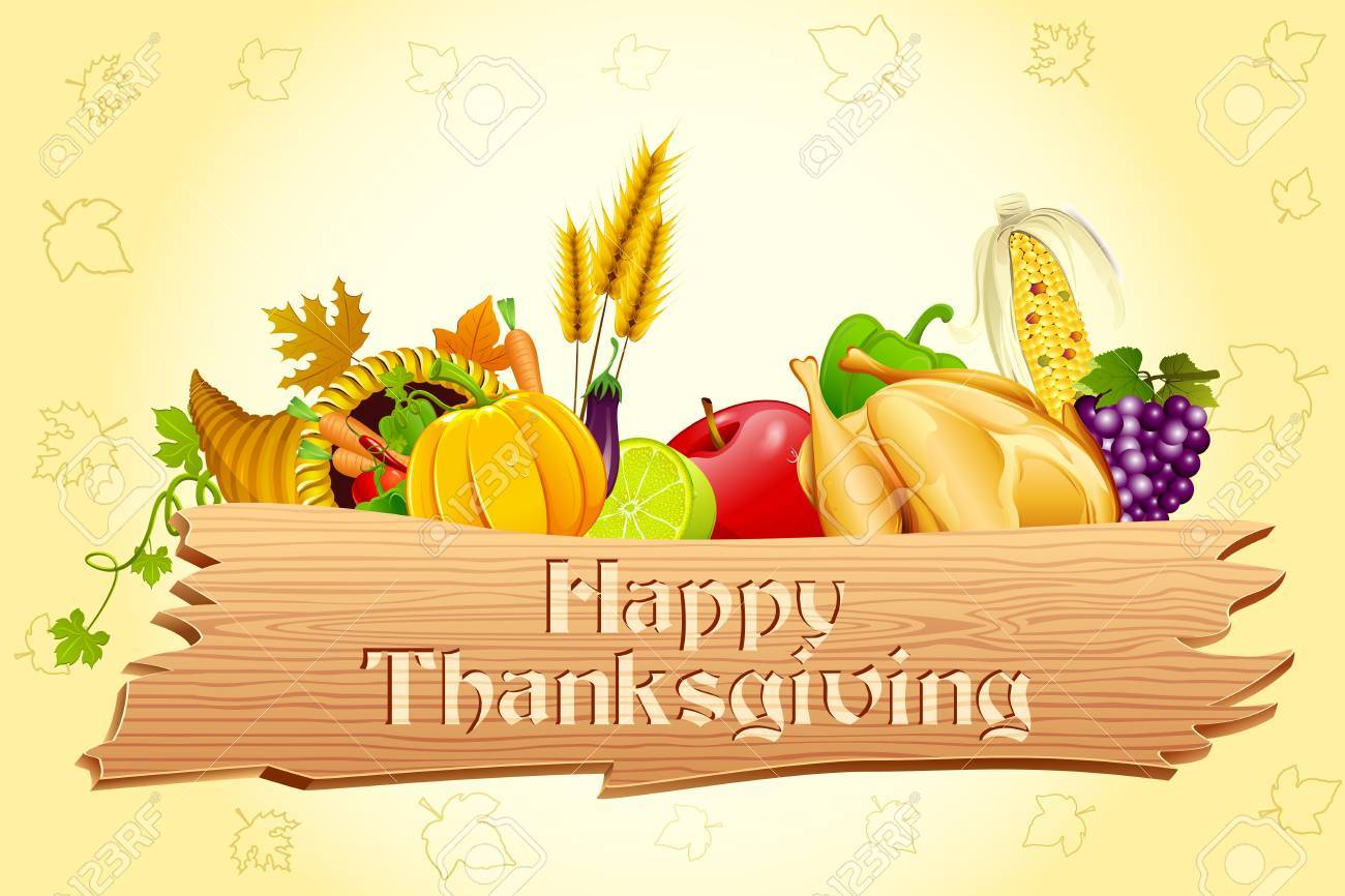 illustration of thanksgiving element with wooden board Stock Illustration - 11275740