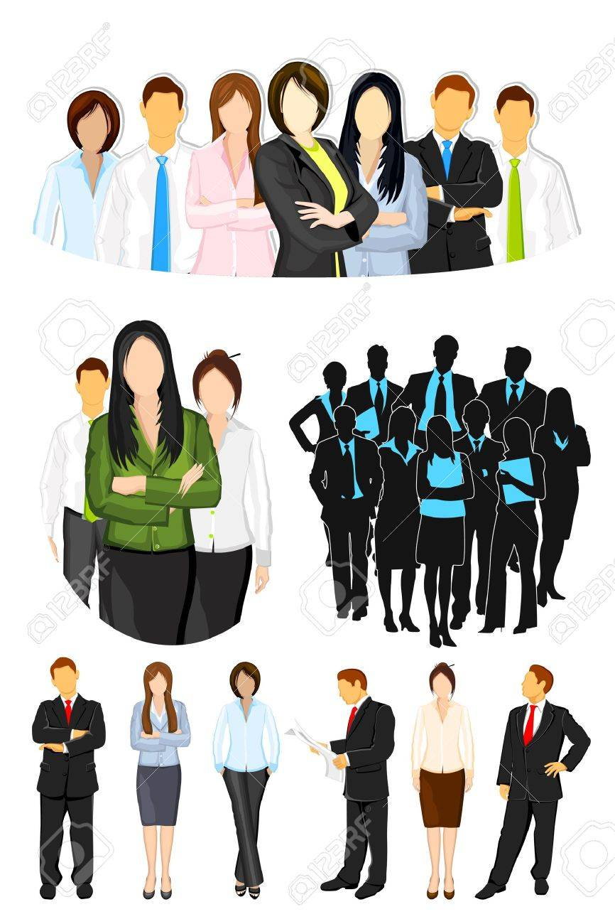illustration of set of business people on isolated background Stock Vector - 11275735
