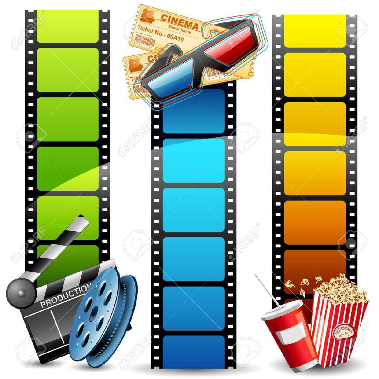 illustration of colorful film reel with pop corn,reel and clapper board - 11275739