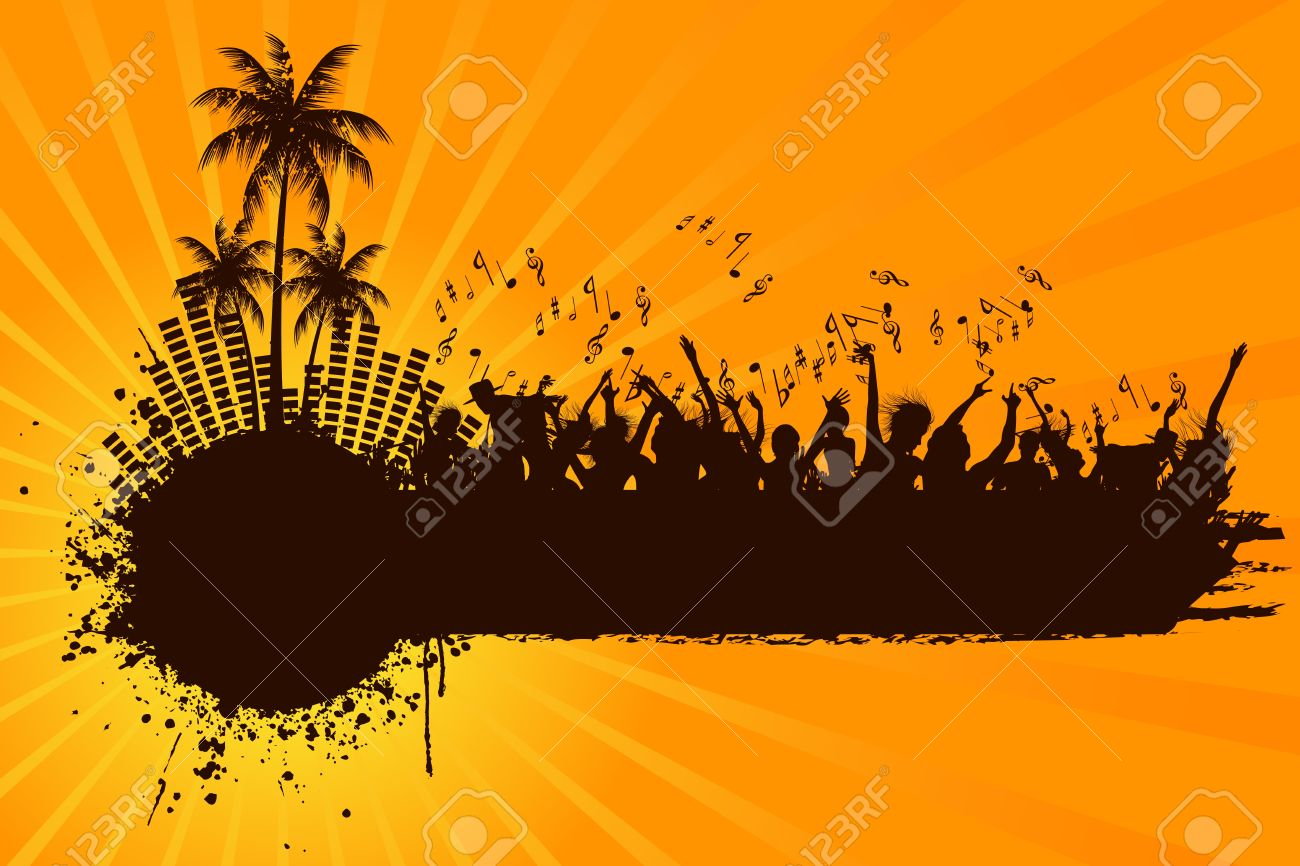 illustration of cheering crowd at beach party - 11275772