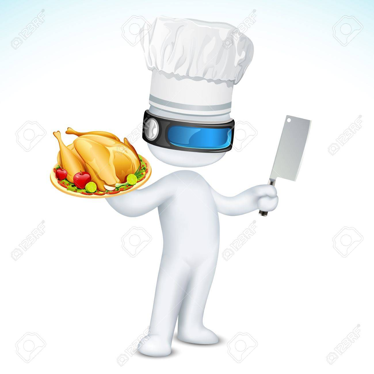 illustration of 3d cook in vector fully scalable standing with dish and knife Stock Photo - 11376695