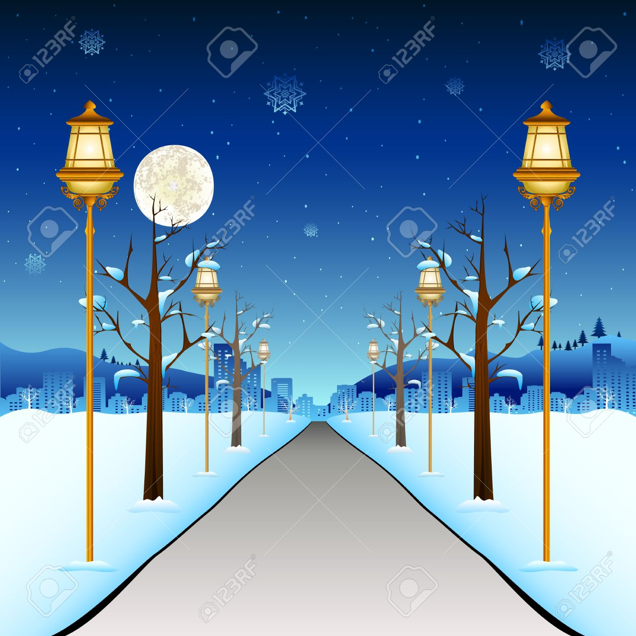 illustration of street with lamp post in winter season