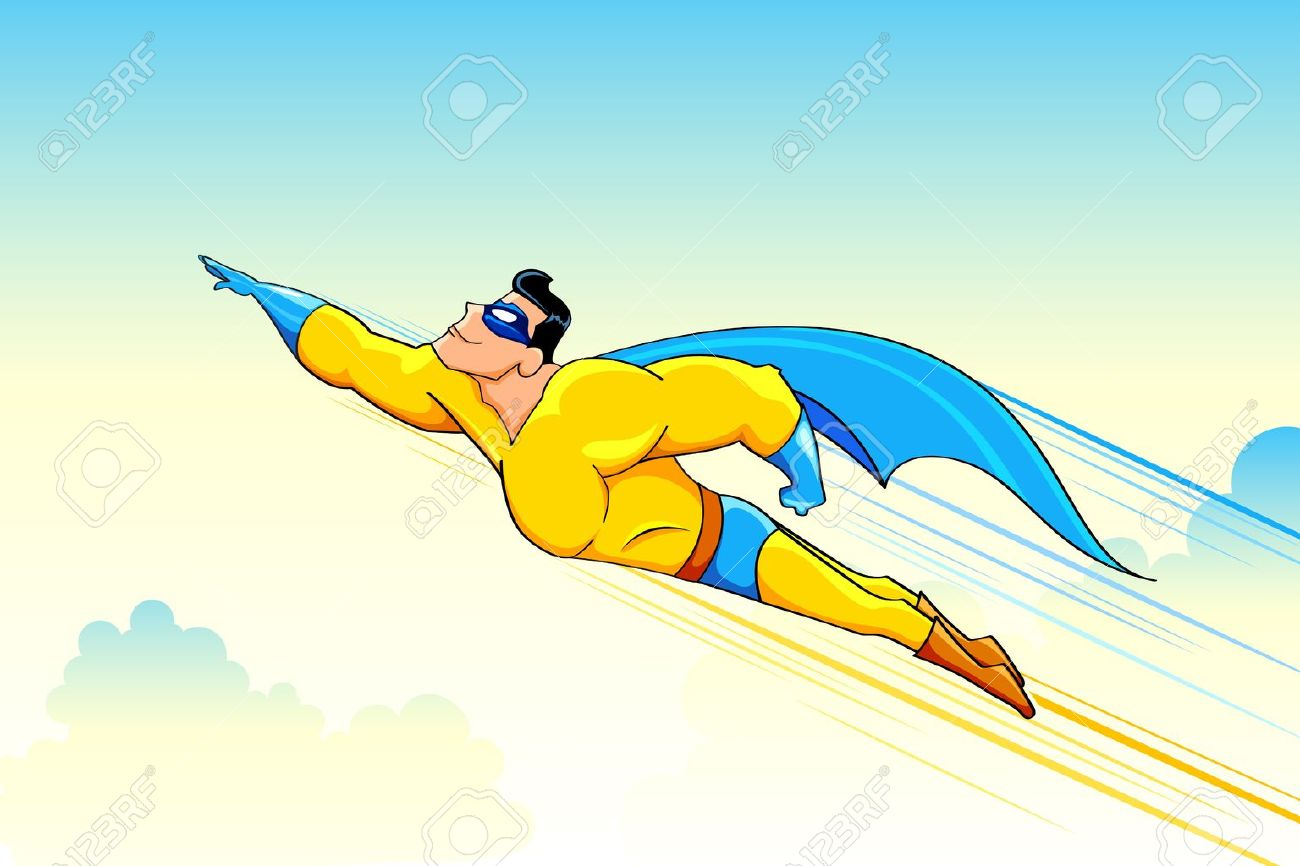 illustration of superhero wearing cape flying in sky Stock Vector - 11376708