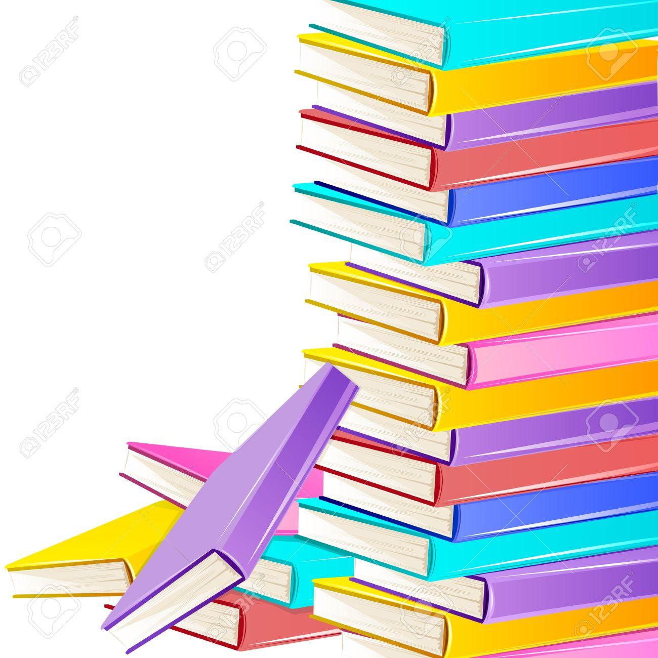 Ilustración De La Pila De Libros De Colores Sobre Fondo Blanco ...