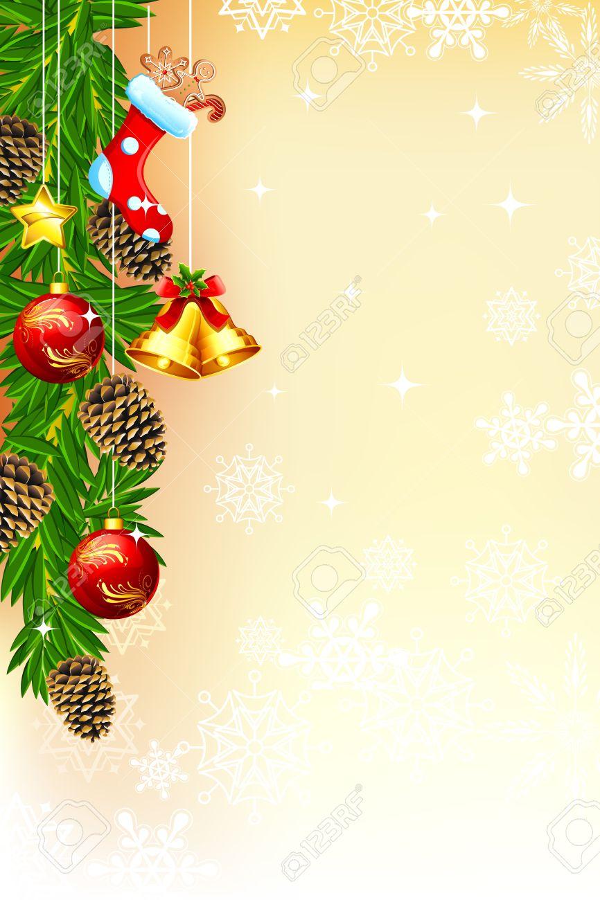クリスマス カード飾られたフレームとベルのイラスト ロイヤリティフリー