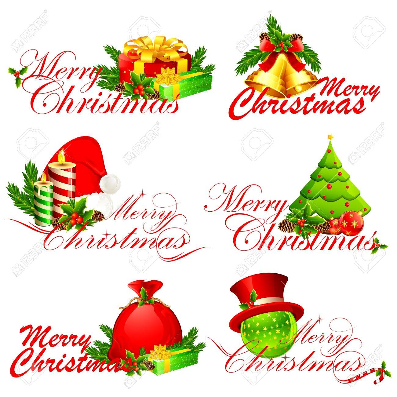 illustration of merry christmas text with different element Stock Vector - 11494058