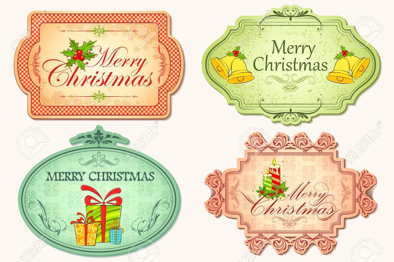 illustration of christmas sticker in vintage style Stock Photo - 11494053