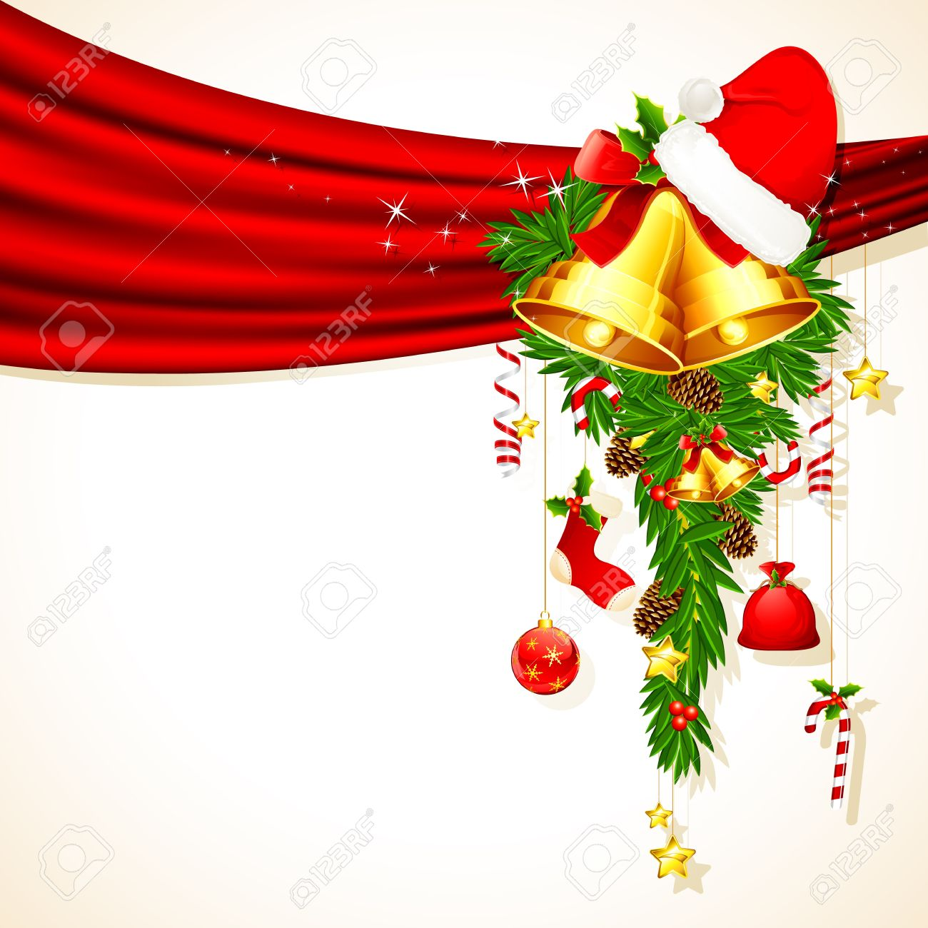 illustration of christmas decoration hanging from drape Stock Vector - 11494076