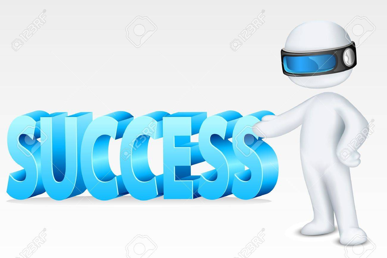 illustration of 3d man in fully scalable vector showing success Stock Vector - 11494071