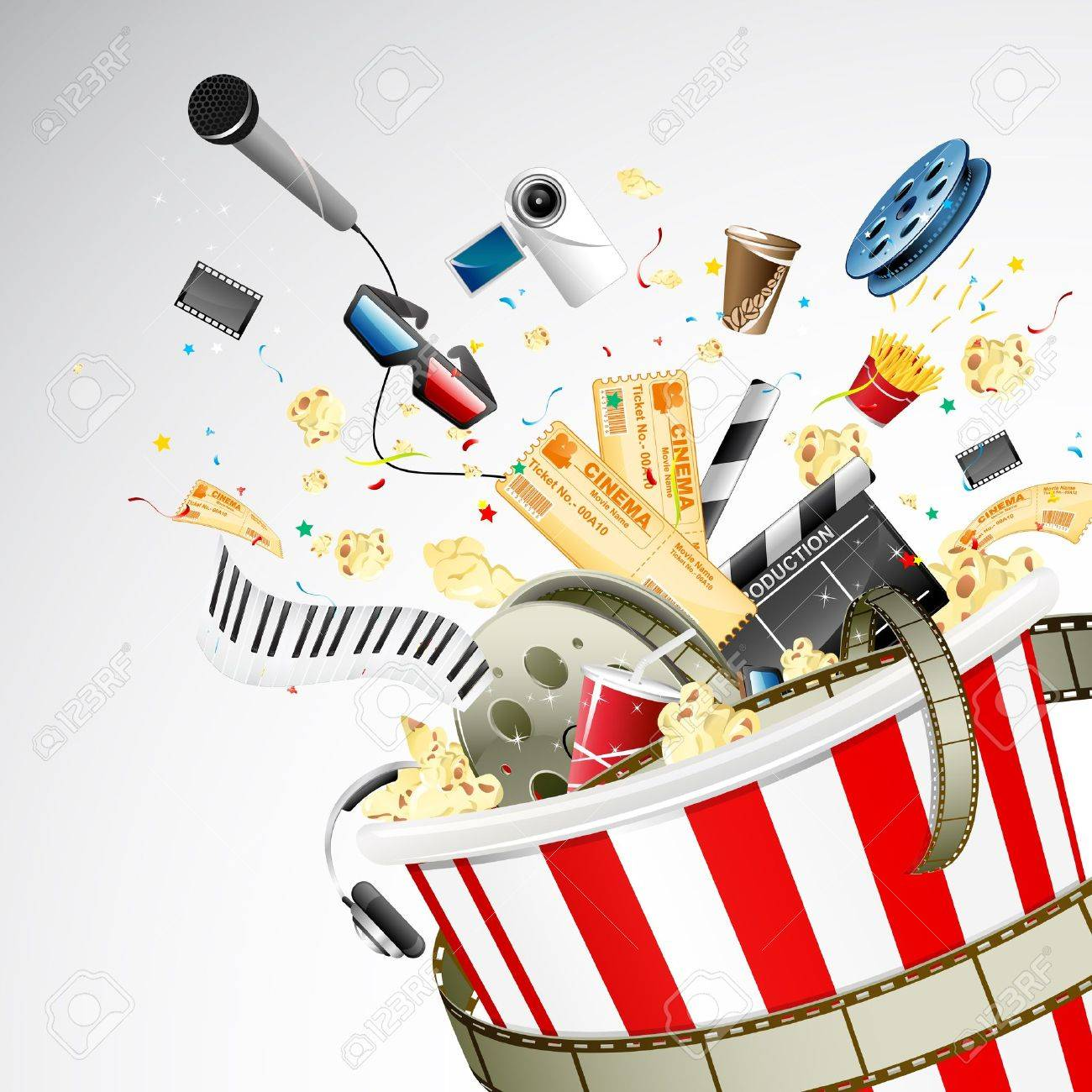 illustration of entertainment object popping out of popcorn bucket Stock Vector - 11494078