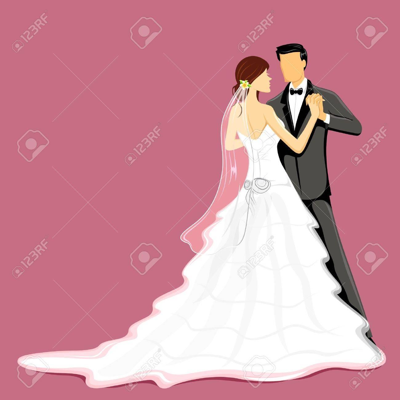 Ilustración De La Pareja De Recién Casados ??en El Vestido De Novia ...