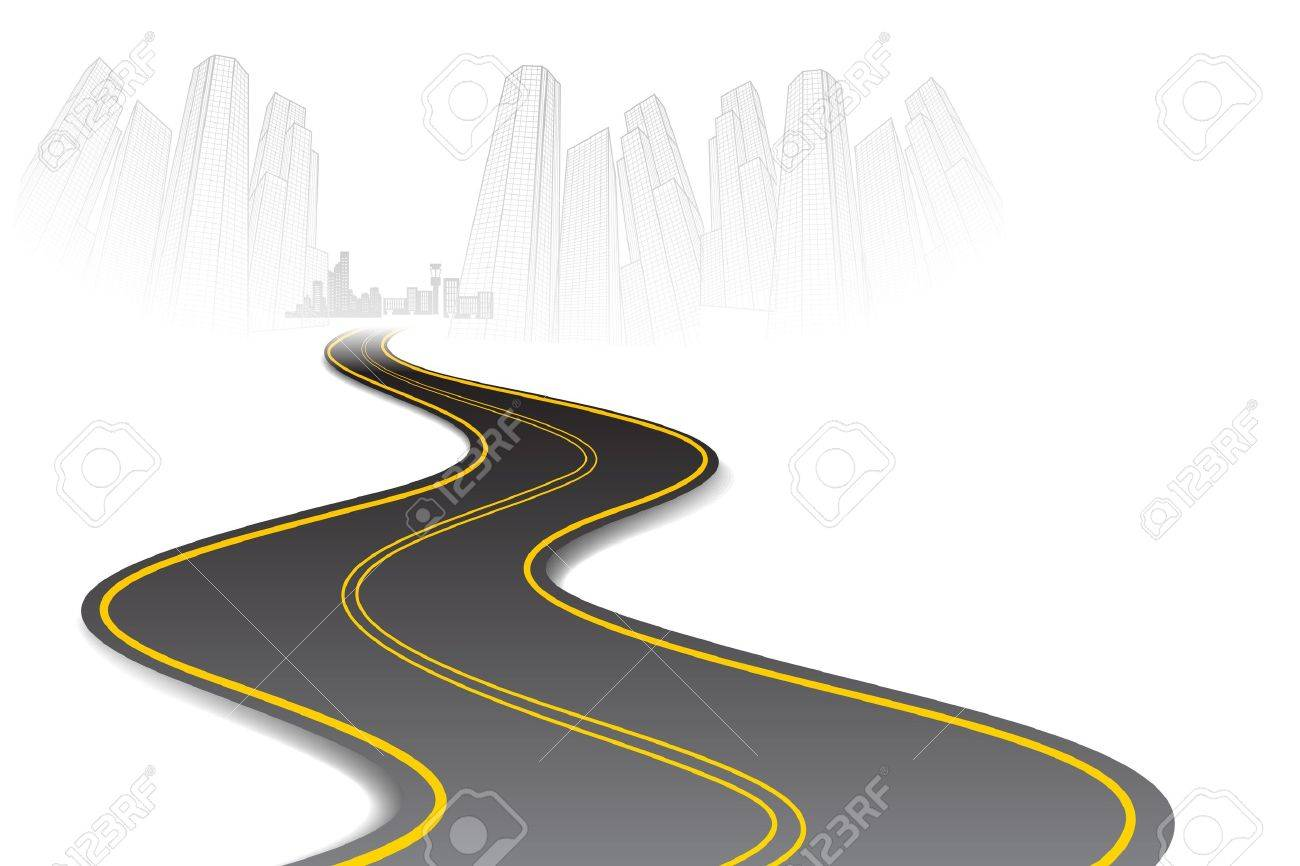 illustration of road going to urban city scape Stock Vector - 11494106
