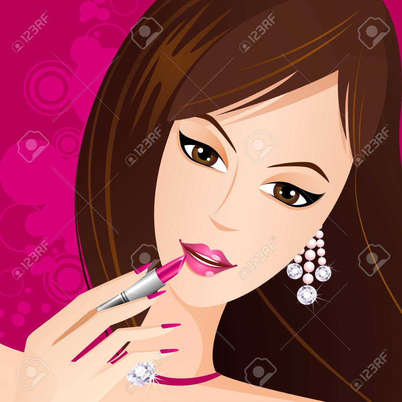 illustration of fashionable lady applying lipstick on lips Stock Vector - 11664869