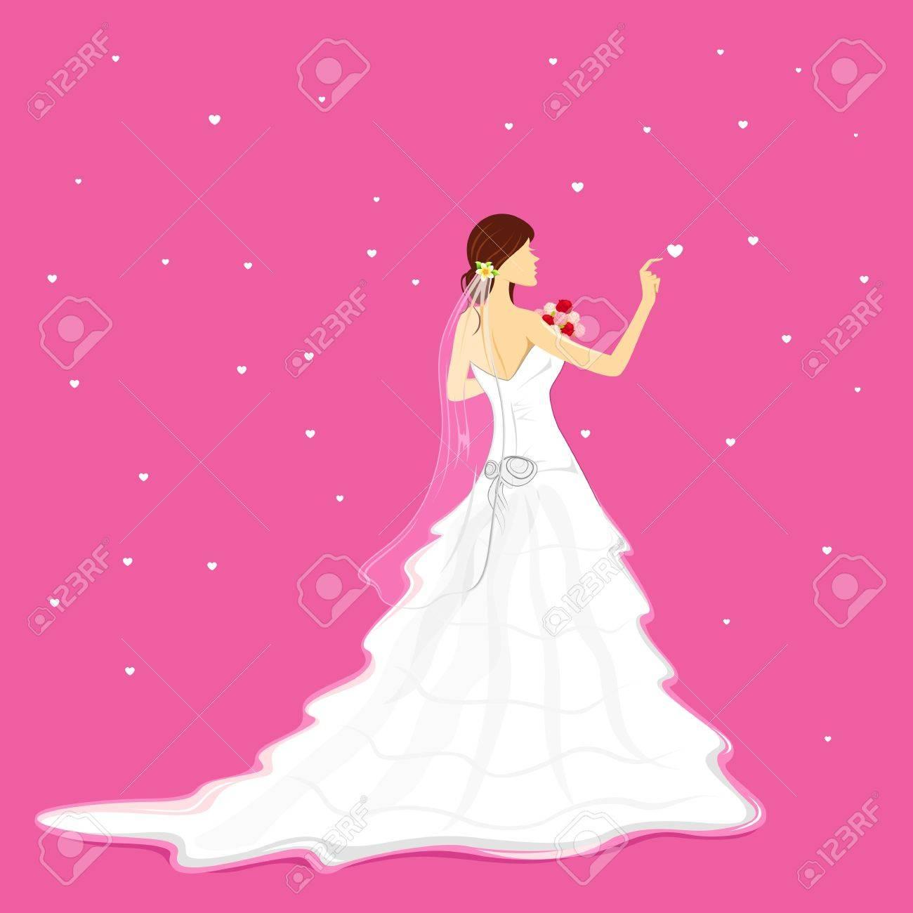Ilustración De La Celebración De La Novia Ramo De Usar Vestido De ...