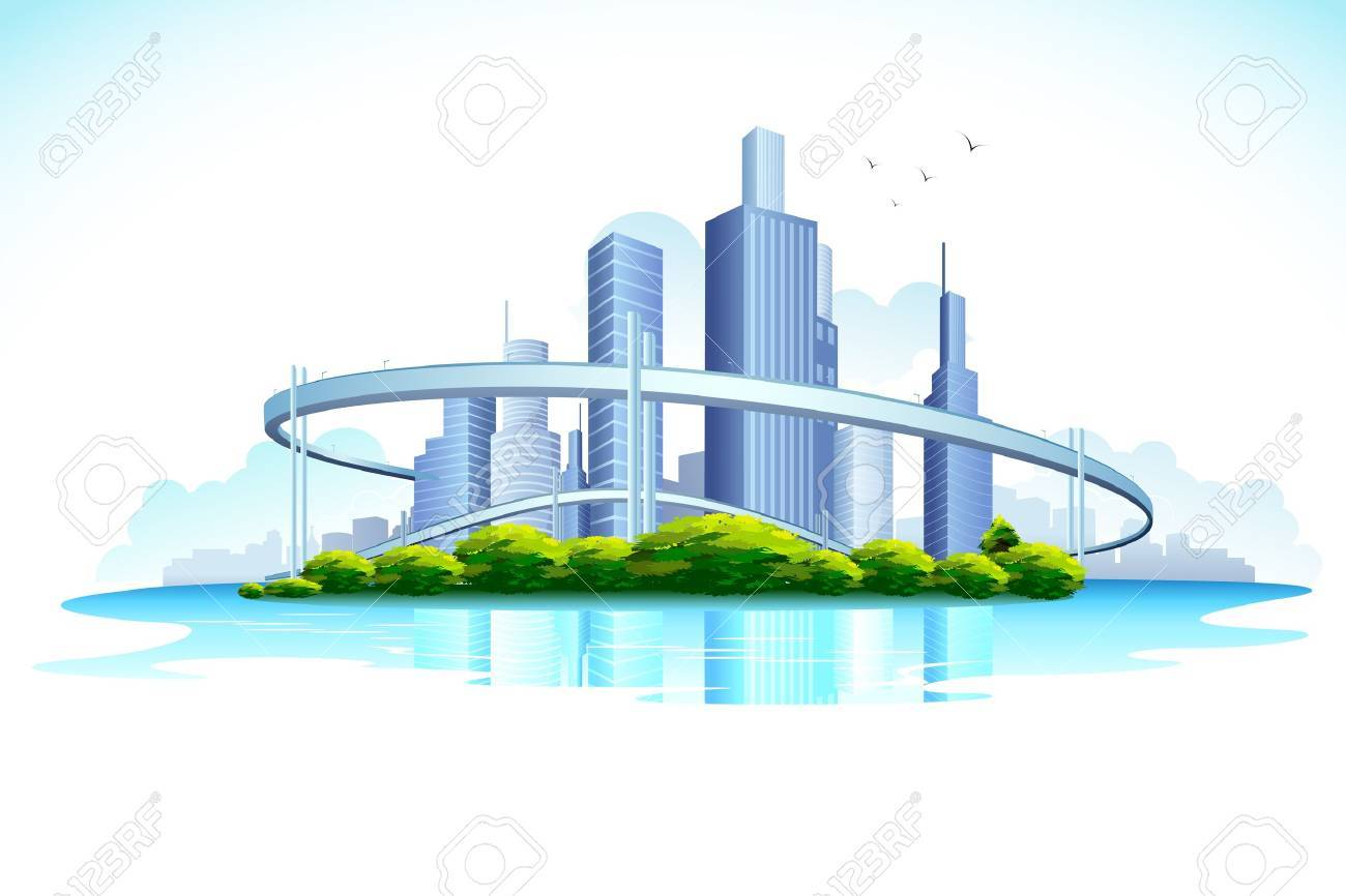 illustration of skyscraper in urban city with lake Stock Vector - 11779460