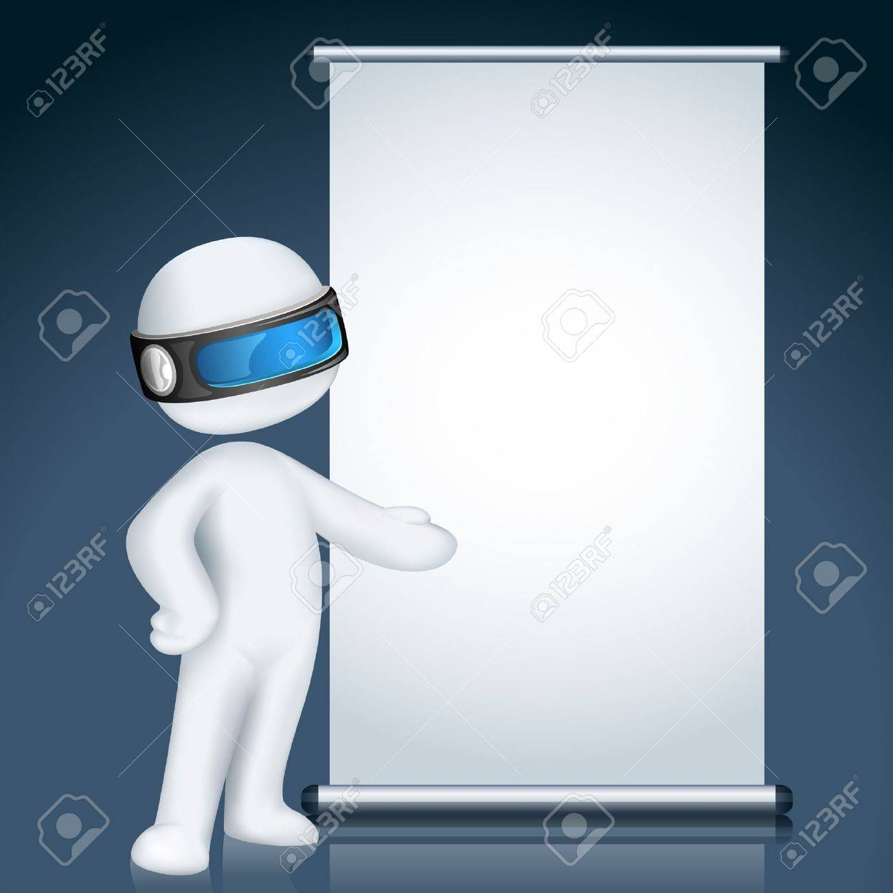 illustration of 3d man giving presentation in display board in vector fully scalable Stock Vector - 11779437