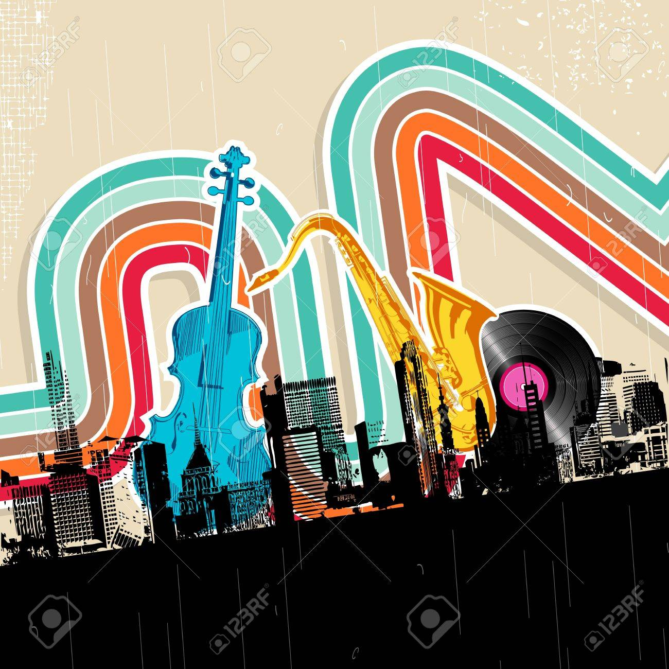 illustration of cityscape with musical instrument in retro style Stock Vector - 11779453